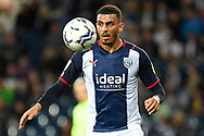 West Bromwich Albion forward Karlan Grant (18) has eyes on the ball during the EFL Sky Bet Championship match between West Bromwich Albion and Queens Park Rangers at The Hawthorns, West Bromwich, England on 24 September 2021.