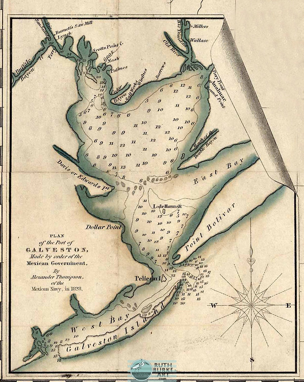 Vintage maps and land plots from the Houston-Galveston coastal area including the Gulf of Mexico Vintage maps of Galveston, Texas and Galveston County Vintage maps of Texas and Louisiana from 1582