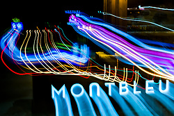 """""""Tahoe Lights 15"""" - Photograph taken at the Lake Tahoe southern state line casinos. The look was achieved by shooting a handheld long exposure and zooming the lens during the exposure."""