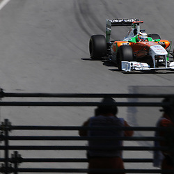 Friday reserve driver German Nico Hulkenberg pilots the Force India VJM04 during practice for the 2011 Formula 1 Canadian Grand Prix, Montral, QC.