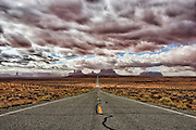 Open road to Monument Valley, Utah.