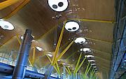 Modern architecture ceiling interior of terminal 4 building, Adolfo Suárez Madrid–Barajas airport, Madrid, Spain