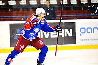 Ishockey , 4. Mars 2014, GET-Liga , Sluttspill , NM<br /> Vålerenga Ishockey - Frisk Asker<br /> Sondre Olden jubler for utligning til 4-4 <br /> OBS: Noe uskarpt, vil KUN fungere i liten størrelse<br /> Foto: Sjur Stølen , Digitalsport