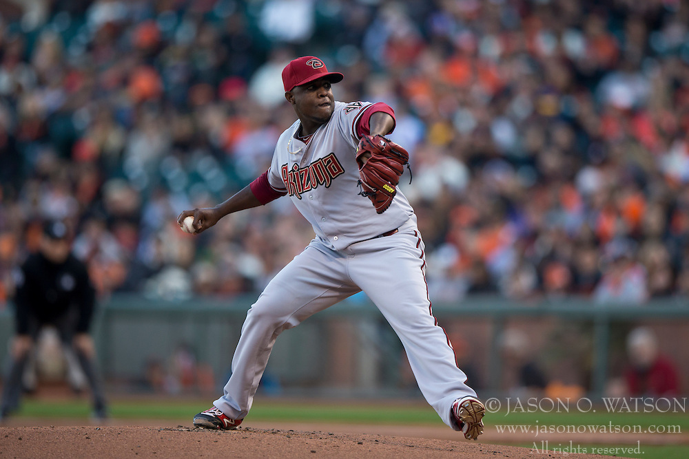 SAN FRANCISCO, CA - APRIL 18:  Rubby De La Rosa #12 of the Arizona Diamondbacks pitches against the San Francisco Giants during the first inning at AT&T Park on April 18, 2015 in San Francisco, California.  The San Francisco Giants defeated the Arizona Diamondbacks 4-1. (Photo by Jason O. Watson/Getty Images) *** Local Caption *** Rubby De La Rosa