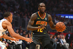 January 28, 2019 - Los Angeles, CA, U.S. - LOS ANGELES, CA - JANUARY 28: Atlanta Hawks Forward Taurean Prince (12) looks to make a pass during a NBA game between the Atlanta Hawks and the Los Angeles Clippers on January 28, 2019 at STAPLES Center in Los Angeles, CA. (Photo by Brian Rothmuller/Icon Sportswire) (Credit Image: © Brian Rothmuller/Icon SMI via ZUMA Press)