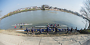 Chiswick, London, Great Britain.<br /> Crews Boating at the Putney Town Boathouse slip way, to compete in the 2016 Schools Head of the River Race, Reverse Championship Course Mortlake to Putney. River Thames.<br /> <br /> Thursday  17/03/2016<br /> <br /> [Mandatory Credit: Peter SPURRIER;Intersport images]