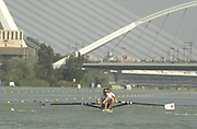 Seville, Andalusia, SPAIN<br /> <br /> 2002 World Rowing Championships - Seville <br /> <br /> 2002 World Rowing Championships - Seville - Spain Thursday  19/09/2002.<br /> <br /> GBR M2- Bow James CRACKNELL and Matthew PINSENT.<br /> <br /> Rio Guadalquiver Rowing course<br /> <br /> <br /> [Mandatory Credit:Peter SPURRIER/Intersport Images]
