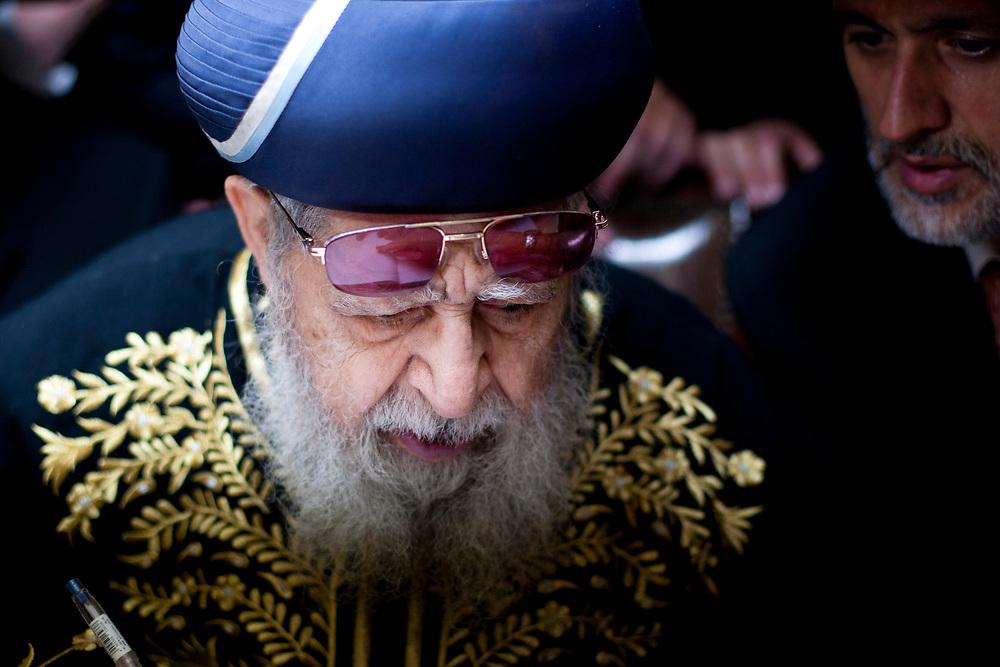 Spiritual leader of the Ultra-Orthodox Shas party, Rabbi Ovadia Yosef (L) and Interior Minister Eli Yishai, in Jerusalem, on June 27, 2010.