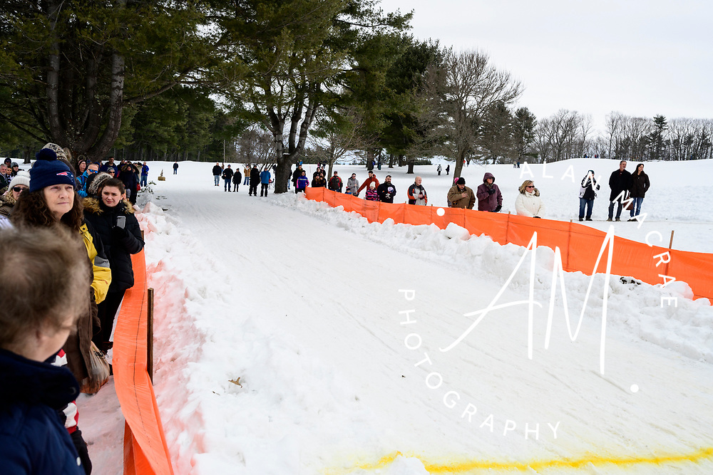 A crowd of spectators line the start/finish line of the World Championship Sled Dog Derby's final day on Sunday February 16, 2020.(Alan MacRae for the Laconia Daily Sun)