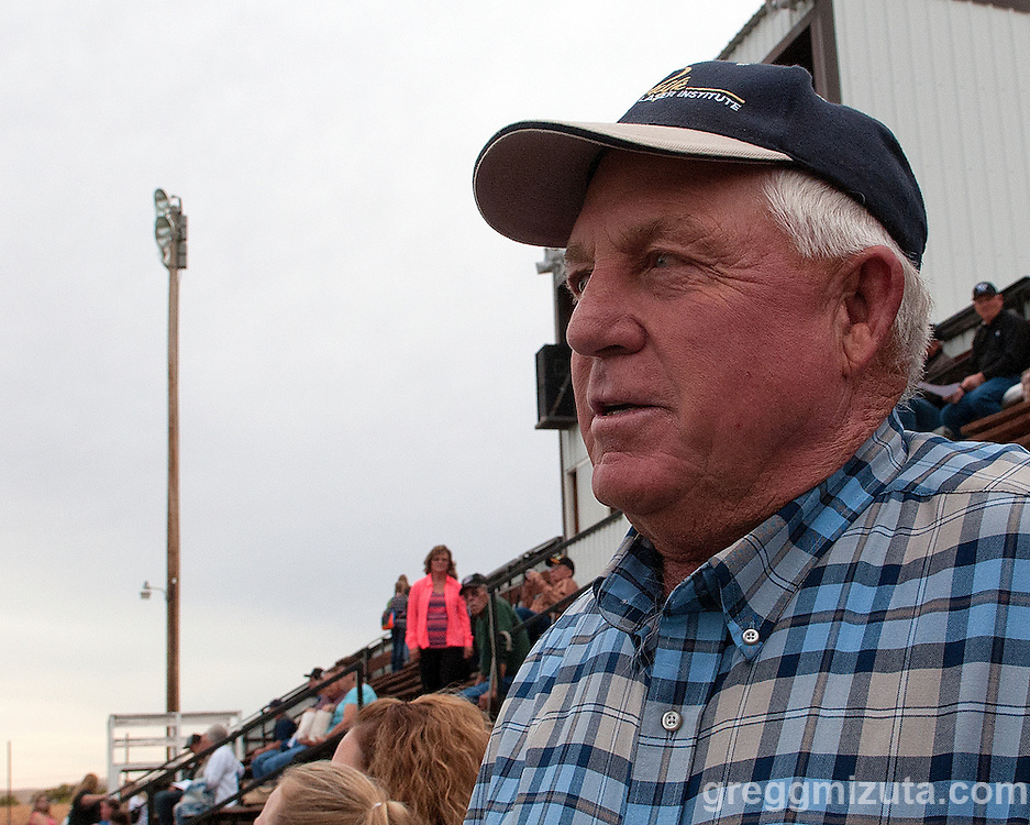 Leroy McBride at the Vale - Baker football game, September 26, 2014 at Frank Hawley Stadium, Vale High School, Vale, Oregon. Mr McBride has been coming to Vale football games since 1959. The year he played in his first varsity game, as a freshman, against Ontario.