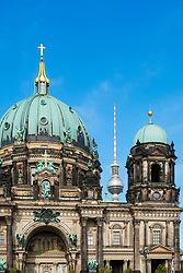View of Berlin Cathedral and the Television Tower at Alexanderplatz in Berlin, Germany