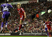Photo: Paul Thomas.<br /> Liverpool v Toulouse. UEFA Champions League Qualifying. 28/08/2007.<br /> <br /> Dirk Kuyt of Liverpool headers for goal.