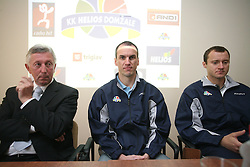Uros Slavinec, general manager of Helios and president of the club, Rade Mijanovic and Domen Zerak  at press conference of KK Helios Domzale before new season 2008/2009 in NLB league and Slovenian National Championship,  on September 18, 2008 in Hotel Ambient, Domzale, Slovenia. (Photo by Vid Ponikvar / Sportal Images)