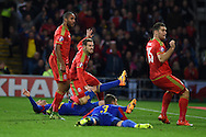Aaron Ramsey of Wales ©  scores his teams 1st goal. Wales v Andorra, Euro 2016 qualifying match at the Cardiff city stadium  in Cardiff, South Wales  on Tuesday 13th October 2015. <br /> pic by  Andrew Orchard