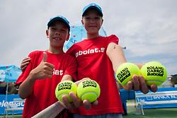 Ball boys during Day Two of tennis tournament ATP Challenger Tilia Slovenia Open 2013 on July 3, 2013 in SRC Marina, Portoroz / Portorose, Slovenia. (Photo by Vid Ponikvar / Sportida.com)