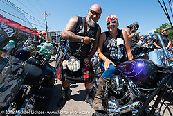 Tom Wolf of Sweden and Melissa Shoemaker before the Cycle Source ride on the 78th annual Sturgis Motorcycle Rally. Sturgis, SD. USA. Wednesday August 8, 2018. Photography ©2018 Michael Lichter.
