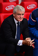 Mark Hughes, the manager of Stoke city looks on. Premier league match, Stoke City v Arsenal at the Bet365 Stadium in Stoke on Trent, Staffs on Saturday 19th August 2017.<br /> pic by Bradley Collyer, Andrew Orchard sports photography.