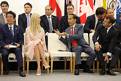 """Shinzo Abe (Japanese Prime Minister), Ivanka Trump (Advisor to the President of the United States), Joko Widodo (Indonesia's President) and Emmanuel Macron (French President) - Side event organized by the Japanese Prime Minister, on the theme """"Promoting the place of women at work"""" at the Intex Osaka congress center at the G20 summit in Osaka, Japan, on June 29, 2019. Photo by Dominque Jacovides/Pool/ABACAPRESS.COM"""