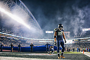 Seahawks wide receiver Doug Baldwin takes a moment to himself in the end zone before the start of the Seahawks game against the Carolina Panthers, Sunday, Dec. 4, 2016, at CenturyLink Field.