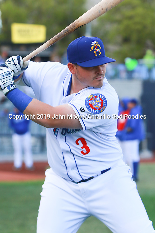 Amarillo Sod Poodles infielder Kyle Overstreet (3) warms up before the game against the Corpus Christi Hooks on Thursday, April 18, 2019, at HODGETOWN in Amarillo, Texas. [Photo by John Moore/Amarillo Sod Poodles]