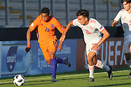 Jurri Maduro of Netherlands (15) and Oscar Castro Dorta of Spain (16) during the UEFA European Under 17 Championship 2018 match between Netherlands and Spain at the Pirelli Stadium, Burton upon Trent, England on 8 May 2018. Picture by Mick Haynes.