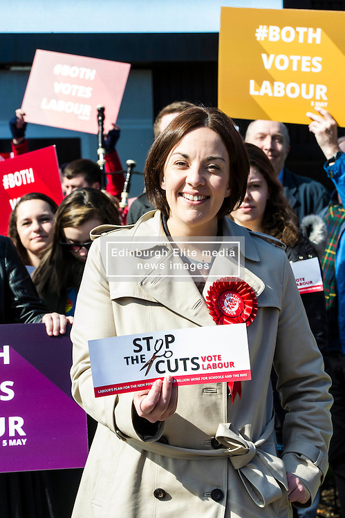 Pictured: Kezia Dugdale<br /> <br /> Scottish Labour leader Kezia Dugdale today launched a new billboard poster for the final weekend of campaigning before the Scottish Parliament election on Thursday 5 May. She was joined by supporters and fellow candidates such as Sarah Boyack; Lesley Hinds and Daniel Johnston<br /> <br /> Ger Harley   EEm 30 April 2016