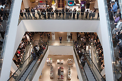© Licensed to London News Pictures.  13/09/2011. LONDON, UK. The manager of the new John Lewis shop in the Westfield Stratford City shopping centre addresses his 750 staff, called partners, ahead of the first customers being allowed in. Westfield is a £1.8 billion retail development overlooks the Olympic park and is the largest urban shopping centre in Europe with 1.9 million square feet of space. Photo credit :  Cliff Hide/LNP