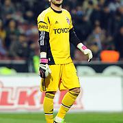 Besiktas's goalkeeper Cenk Gonen during their Turkish SuperLeague Derby match Trabzonspor between Besiktas at the Avni Aker Stadium at Trabzon Turkey on Saturday, 09 March 2013. Photo by TURKPIX