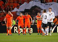 Fotball , 9. februar  2011,  Privatkamp<br /> Nederland - Østerrike<br />  Bild zeigt den Jubel von NED und die Enttaeuschung von Franz Schiemer und Sebastian Proedl (AUT).<br /> <br /> Norway only