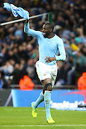 Yaya Toure of Manchester City celebrates after scoring the winning penalty in the penalty shoot out.Capital One Cup Final, Liverpool v Manchester City at Wembley stadium in London, England on Sunday 28th Feb 2016. pic by Chris Stading, Andrew Orchard sports photography.