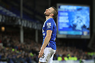 Tom Cleverley of Everton reacts when a decision goes against him. Barclays Premier League match, Everton v Newcastle United at Goodison Park in Liverpool on Wednesday 3rd February 2016.<br /> pic by Chris Stading, Andrew Orchard sports photography.
