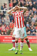 Joe Allen of Stoke races after missing a chance to score. Premier league match, Stoke City v West Ham Utd at the Bet365 Stadium in Stoke on Trent, Staffs on Saturday 29th April 2017.<br /> pic by Bradley Collyer, Andrew Orchard sports photography.