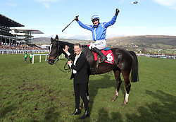 Penhill and Paul Townend celebrate winning the Sun Bets StayersÕ Hurdle during St Patrick's Thursday of the 2018 Cheltenham Festival at Cheltenham Racecourse.