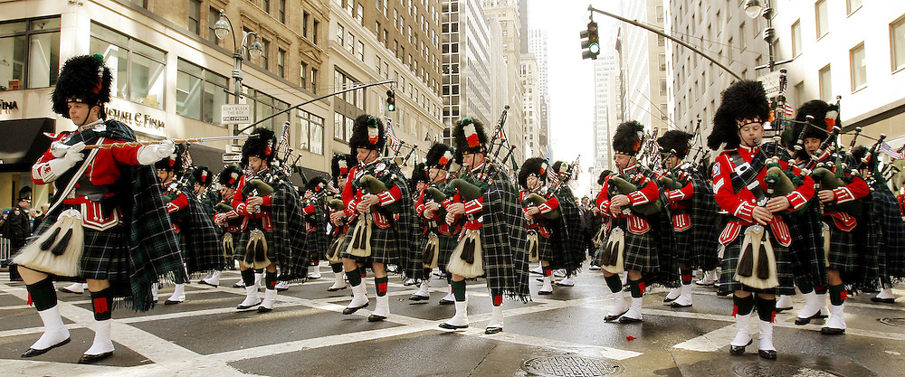 Bagpipers from the New York City Fire Department march along 5th Avenue during the 246th annual St. Patrick's Day parade in New York, York on Saturday 17 March 2007. The annual event is the largest St. Patrick's Day Parade in the world.