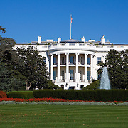 A sunny, fall day on the South Lawn of the White House, the official residence and principal workplace of the President of the United States. The White House is located at 1600 Pennsylvania Avenue NW in Washington, D.C.