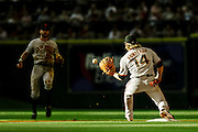Aug 20, 2011; Houston, TX, USA; San Francisco Giants shortstop Mike Fontenot (14) catches a throw from second baseman Jeff Keppinger (8) against the Houston Astros in the first inning at Minute Maid Park. Mandatory Credit: Thomas Campbell-US PRESSWIRE
