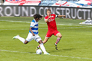 Queens Park Rangers midfielder Eberechi Eze (10) takes a shot on goal during the EFL Sky Bet Championship match between Queens Park Rangers and Barnsley at the Kiyan Prince Foundation Stadium, London, England on 20 June 2020.