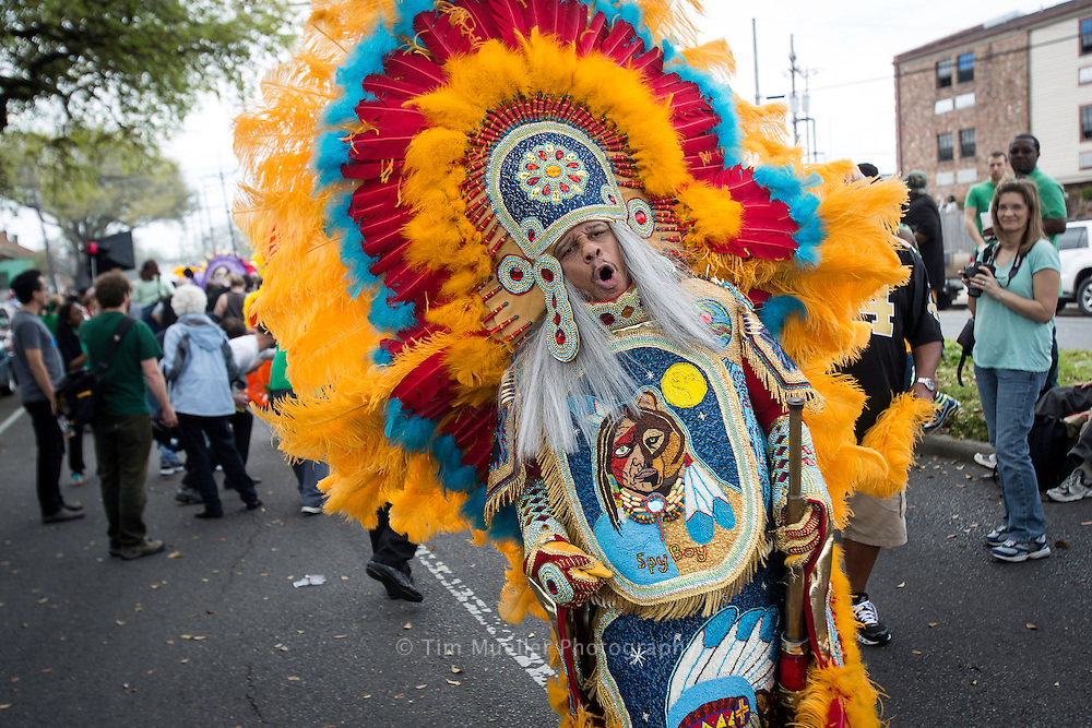 The Mardi Gras Indian Council presents the Indian Super Sunday Festival, Sunday, March 17, 2013. Spyboy Dow Edwards of the Mohawk tribe joins other Mardi Gras Indians as they parade from A.L. Davis Park in New Orleans, La. and around the central city area of the city.