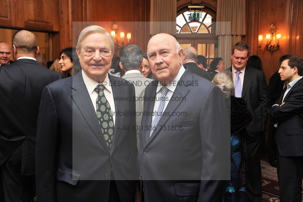 Left to right, GEORGE SOROS and Former South African President F W de KLERK at the 4th Fortune Forum Summit held at The Dorchester Hotel, Park Lane, London on 4th December 2012.