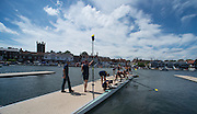 Henley. Great Britain.  General View, Boating Area. University of California, Berkeley, USA  boating for their afternoon heat in the Ladies Challenge Plate  175th  Henley Royal Regatta, Henley Reach. England. 14:07:20  Friday  04/07/2014. [Mandatory Credit; Peter SPURRIER/Intersport-images]