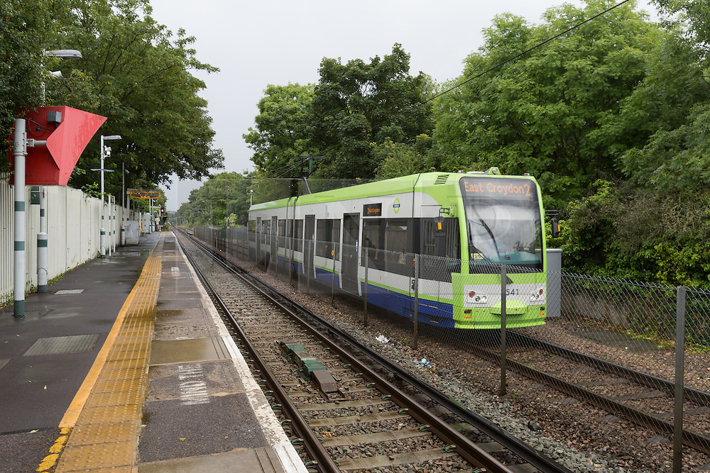 © Licensed to London News Pictures. 12/07/2016. LONDON, UK.  A tram to East Croydon at Birkbeck train station. Southern Rail have introduced an emergency timetable and cancelled many services, including all trains to London Bridge from Birkbeck station in zone 4. A tram service to East Croydon station is still running from Birkbeck station.  Commuters staged a protest against delayed, cancelled and overcrowded Southern Rail train services last night at Victoria Station in London. Photo credit: Vickie Flores/LNP