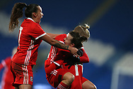Wales women players celebrate their goal scored by Hayley Ladd ® . Wales Women v Kazakhstan Women, 2019 World Cup qualifier match at the Cardiff City Stadium in Cardiff , South Wales on Friday 24th November 2017.    pic by Andrew Orchard