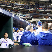 NEW YORK, NEW YORK - October 5: Wilmer Flores #4 of the New York Mets in the dugout during the San Francisco Giants Vs New York Mets National League Wild Card game at Citi Field on October 5, 2016 in New York City. (Photo by Tim Clayton/Corbis via Getty Images)
