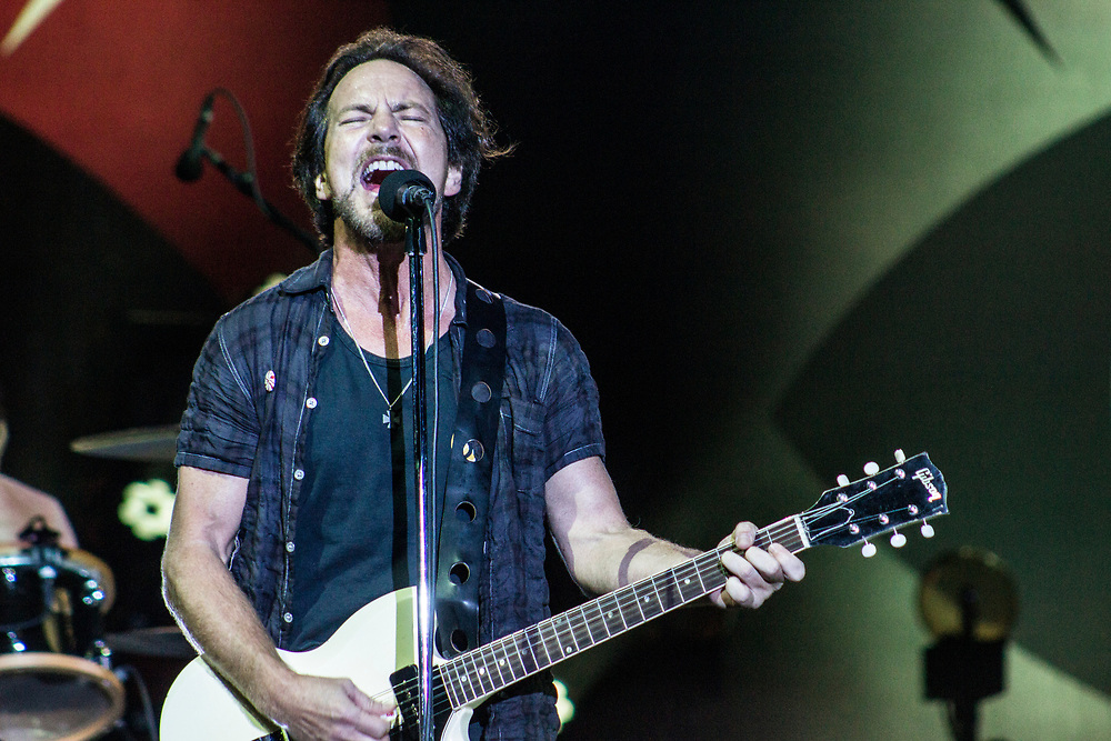 Pearl Jam performing at Bonnaroo in Manchester, TN on June 12, 2016.