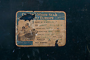 Detail of a Cunard White Star line luggage label.