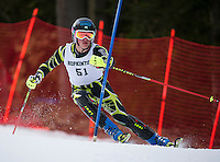 Hopkinton's James McCluskey charges the slalom course during Saturday's Capital Cup at Blackwater/Proctor Ski Area.  (Karen Bobotas/for the Concord Monitor)