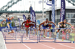 David Omoregie (second right) wins the men's 110 metres hurdles during the Great North City Games at the Newcastle/Gateshead Quayside.