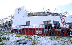 A general view of the snow outside of the bet365 Stadium