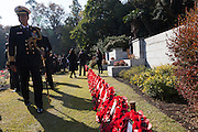 Men in military uniforms take part in a Ceremony for Remembrance Sunday at the Commonwealth War Graves Cemetery in Hodogaya, Yokohama, Japan. Sunday November 13th 2016. Each year representatives of the Commonwealth nations, along with American and other European nations that lost servicemen fighting the Japanese in World War 2, hold a multi-faith service of remembrance at this cemetery. This is the only cemetery for war dead in japan that is managed by the Commonwealth War Graves Commission.