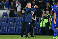 Neil Warnock, the Cardiff city manager celebrates his teams 2-0 win at the end of the game. EFL Skybet championship match, Cardiff city v Sheffield Utd at the Cardiff City Stadium in Cardiff, South Wales on Tuesday 15th August 2017.<br /> pic by Andrew Orchard, Andrew Orchard sports photography.
